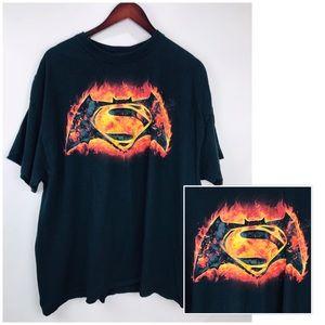 Batman Logo Flame Dawn Of Justice T-shirt Mens